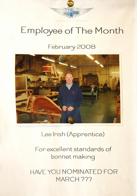 Having an employee of the month award is an important motivational tool ... even in bonnet making.